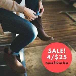 Sale! 4/$25 4 for $25 | Items $19 or Less